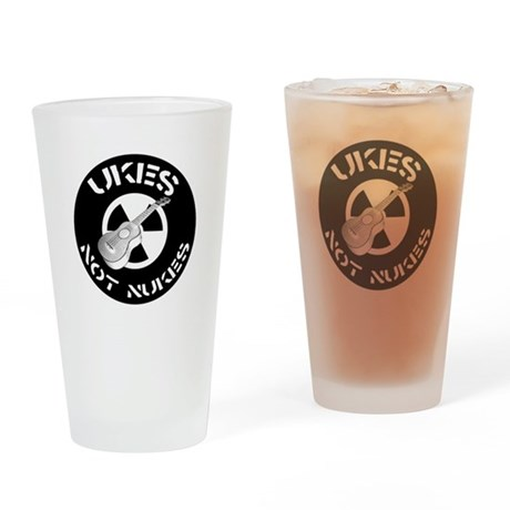 Ukes Not Nukes Drinking Glass