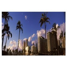 Low angle view of skyscrapers, Honolulu, Hawaii