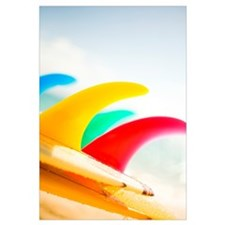 Colorful Surfboards Fins, Bright Sunny Sky In Back