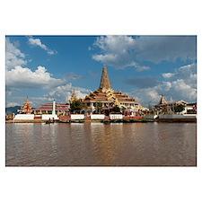 Pagoda in a lake, Phaung Daw Oo Pagoda, Inle Lake,