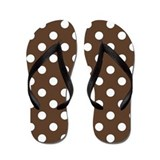 Dotted Chocolate Brown Flip Flops