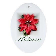 Poinsettia Autumn Oval Ornament