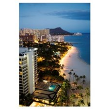 Hawaii, Oahu, Waikiki Beach And Diamond Head In Th