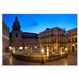 Fountain lit up at night, Piazza Pretoria, Palermo