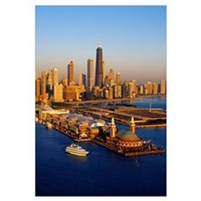 Aerial view of a city, Navy Pier, Lake Michigan, C