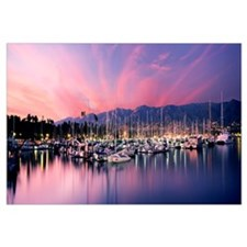 Boats moored in harbor at sunset, Santa Barbara Ha