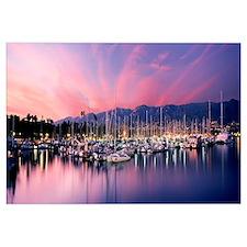 Boats moored in harbor at sunset, Santa Barbara Ha