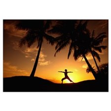 Hawaii, Maui, Olowalu, Woman Doing Yoga At Sunset