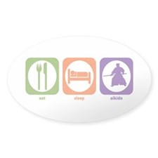 Eat Sleep Aikido Oval Decal