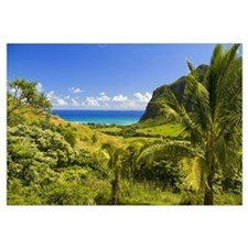 Hawaii, Oahu, Kualoa Ranch, Mountains And Ocean In