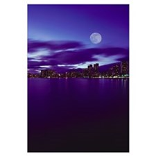 Hawaii, Oahu, Waikiki City Lights With Large Full