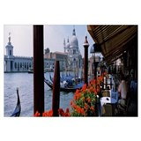 People in a cafe on a canal, Venice, Veneto, Italy