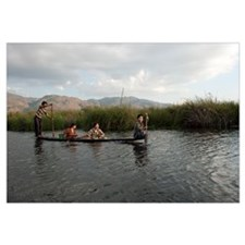 People rowing boat in a lake, Inle Lake, Shan Stat