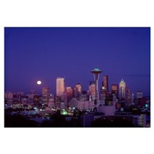 Washington, Seattle, Downtown Skyline With Moonris