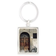 Bike by door Portrait Keychain