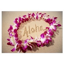 Hawaii, Purple Orchid Lei On Beach, Aloha Written