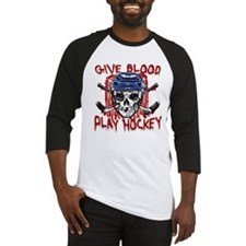 Give Blood Hockey Blue Baseball Jersey