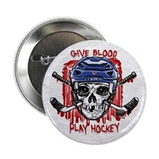 "Give Blood Hockey Blue 2.25"" Button"