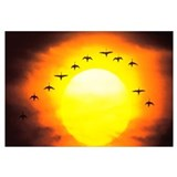 Silhouetted Birds in Sunset