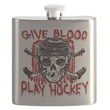 Give Blood Hockey Black Flask