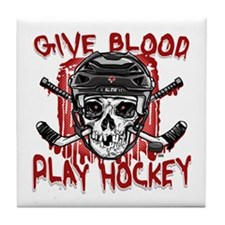 Give Blood Hockey Black Tile Coaster