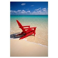 Red Beach Chair Along Shoreline, Turquoise Ocean