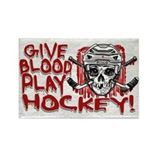 Give Blood Hockey White Rectangle Magnet