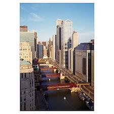 Skyscrapers in a city, Wacker Drive, Chicago River