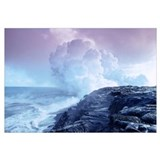 Hawaii, Big Island, Lava Flowing Into Sea, Sulphur