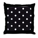 Throw Pillow-Poka Dots White Black back