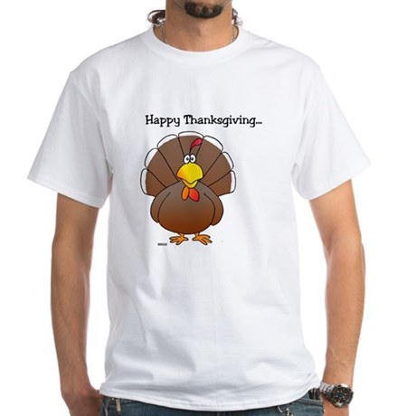 'Happy Thanksgiving' White T-Shirt