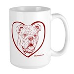 Large Bulldog Heart Mug
