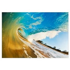 Hawaii, Maui, Makena, Beautiful Blue Ocean Wave Br