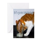 Cat Drinking from Glass Greeting Cards (Pk of 10)