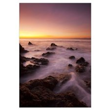 The Tide Washes Over The Rocky Coast, Malibu, Cali