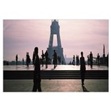 Tourists walking near a tower, Eiffel Tower, Seine