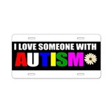 Cute Father to a child with autism Aluminum License Plate