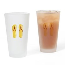 sandals red strap yellow beaded Drinking Glass