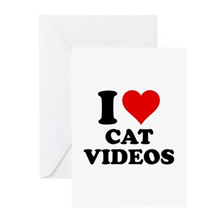 I Love Cat Videos Greeting Cards (Pk of 10)
