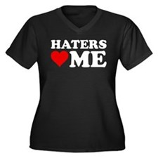 Haters Love Me Women's Plus Size V-Neck Dark T-Shi