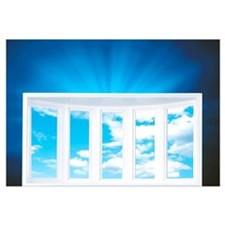 Window and Cloudy Sky on Deep Blue Shiny Backgroun