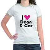 I Love Dean & Cas (Pink Heart) T-Shirt