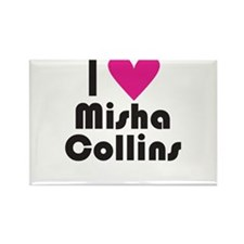 I Love Misha Collins (Pink Heart) Rectangle Magnet