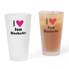 I Love Sam Winchester (Pink Heart) Drinking Glass
