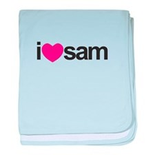 I Love Sam (Pink Heart) baby blanket