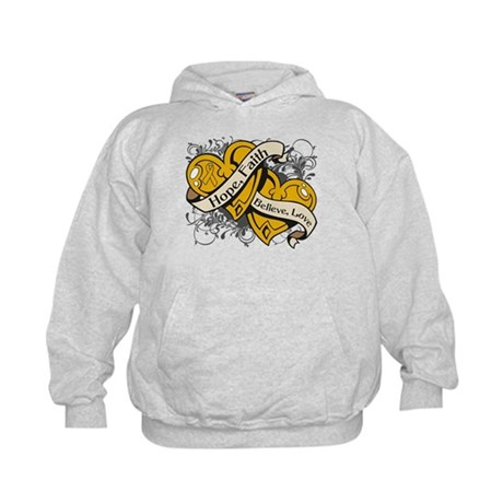 Appendix Cancer Hope Dual Heart Kids Hoodie