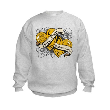 Appendix Cancer Hope Dual Heart Kids Sweatshirt