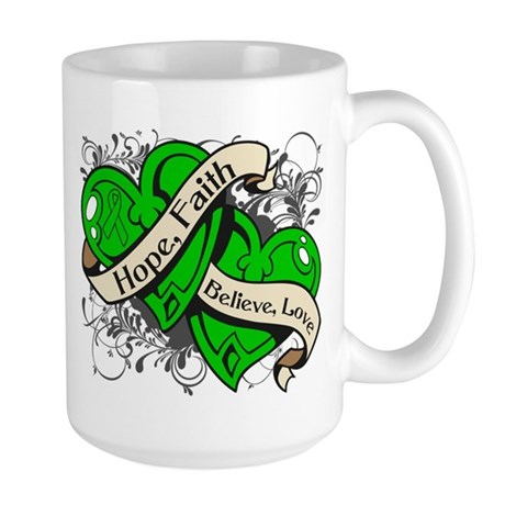 Bile Duct Cancer Hope Dual Heart Large Mug