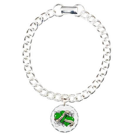 Bile Duct Cancer Hope Dual Heart Charm Bracelet, O