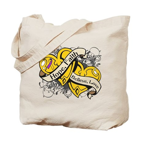Bladder Cancer Hope Dual Heart Tote Bag